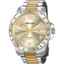 Relógio Seculus Masculino Bicolor Long Life 20854GPSVBA1 Analógico 5 Atm Cristal Mineral -