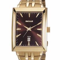 Relógio Seculus Masculino Clássico Quadrado Dourado  20608GPSVDA2 -