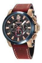 Relógio seculus masculino cronógrafo de couro 13027gpsvdc1 -