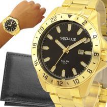 Relógio Seculus Masculino Dourado 1 Ano de Garantia original -