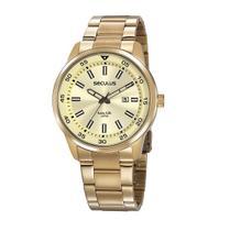 Relógio Seculus Masculino Dourado Analógico Aço Calendário 20786GPSVDA2 -