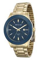 Relógio seculus masculino dourado e azul 28743gpsvda1 -