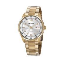 Relógio Seculus Masculino Dourado em Aço Calendário 20802GPSVDA1 -