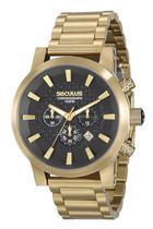 Relógio seculus masculino dourado fdo preto 20460gpsvda1 -