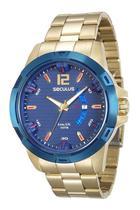 Relógio seculus masculino dourado fundo azul 28741gpsvla1 -