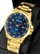 Relógio seculus masculino dourado grande 20802gpsvda2 -