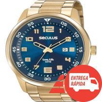 Relógio Seculus Masculino Dourado Grande - Fundo Azul - Prisma