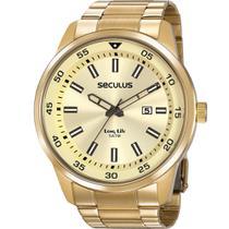 Relógio Seculus Masculino Dourado Long Life 20786GPSVDA2 Analógico 5 Atm Cristal Mineral -