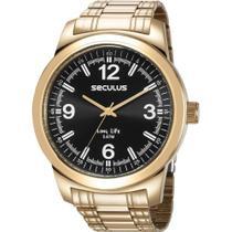 Relógio Seculus Masculino Dourado Long Life 23639GPSVDA3 Analógico 5 Atm Cristal Mineral -