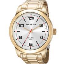 Relógio Seculus Masculino Dourado Long Life 23642GPSVDA3 -