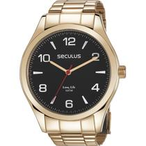 Relógio Seculus Masculino Dourado Long Life 28974GPSVDA3 -