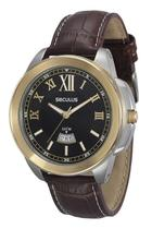 Relógio seculus masculino fundo preto couro 20347gpsvbc2 -