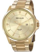 Relógio Seculus Masculino Long Life Dourado 20805gpsvda1 -