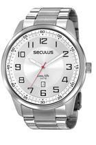 Relógio Seculus Masculino Prata Analógico Aço Calendário 20785G0SVNA2 -