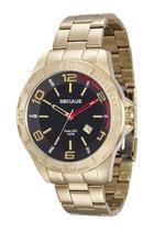 Relógio seculus masculino prata detal vermelho 28805gpsvda2 -