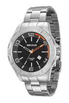 Relógio seculus masculino prata fdo preto 28805g0svna1 -