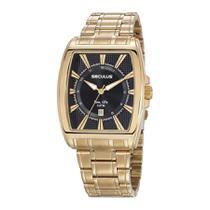 Relógio Seculus Masculino Ref: 23669gpsvda1 Retangular Dourado -