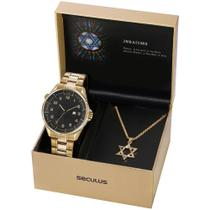 Relógio Seculus Masculino Ref: 23685gpskda1 Dourado Judaísmo -