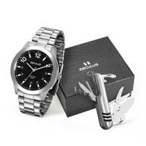 Relógio Seculus Masculino Ref: 28883g0svna1 Prateado + Canivete -