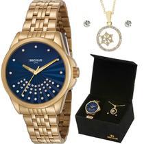 Relógio Seculus Mostrador Azul com kit Folheado a Ouro 18k -