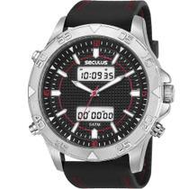 Relógio Seculus Preto  Anadigi 5 Atm Cristal Mineral Tamanho Grande -