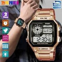 Relógio Skmei Digital 1335 Aço Inox + Caixa Estojo em Acrílico -