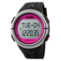 Relógio Skmei  Pedômetro Unissex Digital 1058  Rosa e Preto -