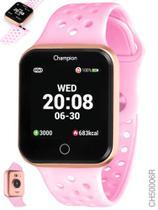 Relógio smart watch champion unissex bluetooth 4.0 ch50006r dourado com pulseira rosa -