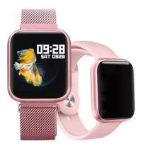 Relógio Smart Watch P70 C/ Duas Pulseiras-rose - Smartwatch
