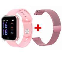 Relógio Smart Watch P80 C/ Duas Pulseiras Batimento Cardíaco DA FIT Rosa -
