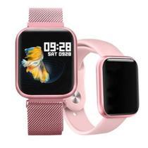 Relógio Smart Watch P80 C/ Duas Pulseiras Batimento Cardíaco DAFIT - Rosa - DT-55