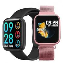 Relógio Smart Watch P80 C/ Duas Pulseiras Batimento Cardíaco DAFIT - Rosa -