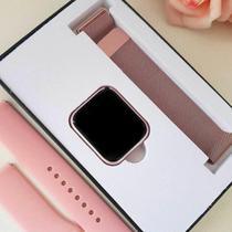 Relógio Smart Watch P80 C/ Duas Pulseiras Batimento Cardíaco - Rosa - -