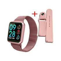 Relógio Smart Watch P80 C/ Duas Pulseiras Batimento Cardíaco - Rosa -