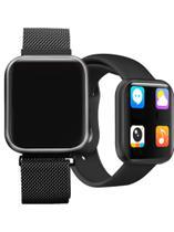 Relógio Smart Watch P80 Preto C/ Duas Pulseiras Batimento Cardíaco  - DAFIT -