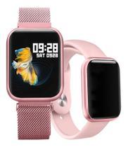 Relógio Smart Watch P80 Rosa C/ Duas Pulseiras Batimento Cardíaco DAFIT  -