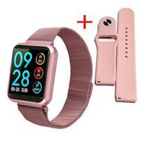 Relógio Smart Watch P80 Rosa C/ Duas Pulseiras Batimento Cardíaco - Smartwatch