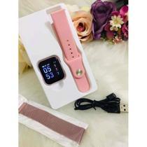Relógio Smart Watch P80 Rosa C/ Duas Pulseiras Batimento Cardíaco -