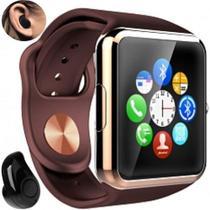 Relógio Smartwatch A1 Inteligente Gear Chip Celular Touch + Mini fone de Ouvido Bluetooth S530 (DOURADO/MARRON) -