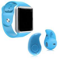 Relógio Smartwatch A1 Inteligente Gear Chip Celular Touch + Mini fone Ouvido Bluetooth S530 - AZUL - A Smart