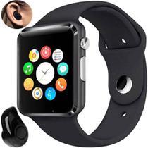 Relógio Smartwatch A1 Inteligente Gear Chip Celular Touch PRATA + Mini Fone de Ouvido Bluetooth PRETO - Import