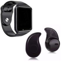 Relógio Smartwatch A1 Original Touch Bluetooth Gear Chip - Black-Black + Mini Fone