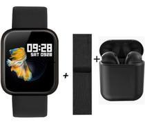 Relógio Smartwatch Feminino P70 Rose Mais Pulseira De Metal Mais Fone S/Fio -