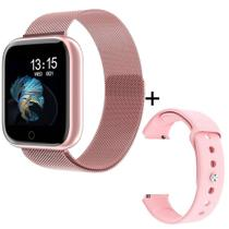 Relogio Smartwatch Feminino P80 Rose Inteligente Bluetooth Whats IOS Android Cor Rosa -