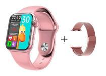 Relógio Smartwatch Hw12 40mm + Pulseira Metal Extra Tela Infinita - Rosa - iwo