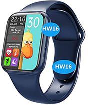 Relógio Smartwatch HW16 44mm Ligações Foto Face Android IOS + Pulseira Milanese (Preto) -