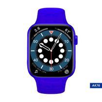 Relogio Smartwatch Inteligente ak76 Tela Infinita - Azul -
