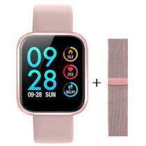 Relogio Smartwatch Inteligente P70  Bluetooth Pulseira em Metal Rosa -