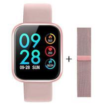 Relogio Smartwatch Inteligente P70 Pro Bluetooth Pulseira em Metal Rosa - Concise fashion style -