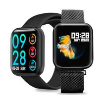 Relógio Smartwatch Inteligente P80 40mm Android iOS + Pulseira Metal Extra - Preto - Smart Bracelet